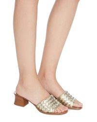 Bottega Veneta Ravello Metallic Intrecciato Leather Sandals