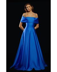 Rasario Blue Off-the-shoulder Pleated Satin Gown