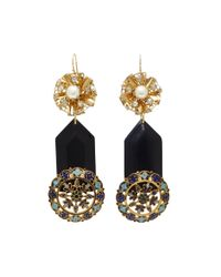 Lulu Frost - Black M'o Exclusive Vintage Crystal And Faux Pearl Earrings - Lyst