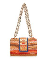 Kooreloo Orange New Yorker Soho Fabric Shoulder Bag With Small Pom Poms