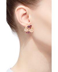 Bounkit - Metallic Brass 14k Gold Plated Rose Quartz, Amethyst, And Clear Quartz Earrings - Lyst