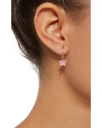 She Bee - 10k Gold Pink Sapphire Star Hoops - Lyst