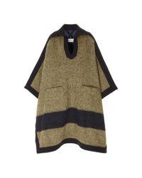 Maison Margiela Brown Oversized Poncho Wool-blend Coat