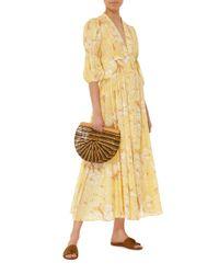 Cult Gaia Yellow Willow Deep V Prairie Dress