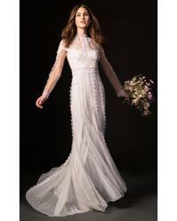 Temperley London White Beatrix Gown With Long Sleeve Lace Overlay