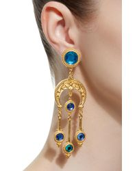 Ben-Amun - Blue Gold-plated Crystal Earrings - Lyst