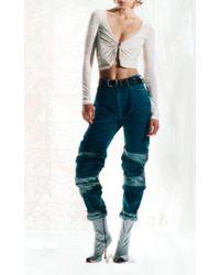 Y. Project Blue Multi-cuff Rigid High-rise Straight-leg Jeans