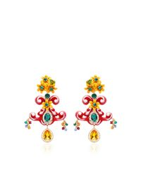 Dolce & Gabbana | Multicolor Yellow Floral Earrings | Lyst