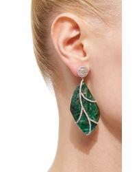 Nina Runsdorf Green 18karat White Gold Emerald and Diamond Earrings