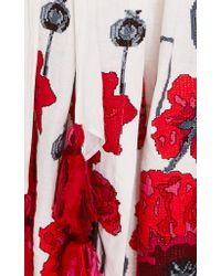 Yuliya Magdych White Poppies Floral Embroidered Sundress