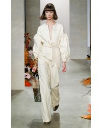 Ulla Johnson White Akiba Belted Cotton Wide-leg Jumpsuit