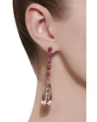Nina Runsdorf - Pink M'o Exclusive One-of-a-kind Morganite Pearshape Drop Earrings - Lyst