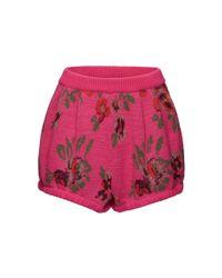 Magda Butrym Pink Floral Printed Wool-blend Shorts
