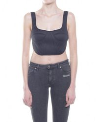 6fa74f1c8a Off-White c o Virgil Abloh Corset Bib Top in Black - Lyst