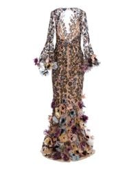 Marchesa Multicolor Floral-appliquéd Embroidered-tulle Gown