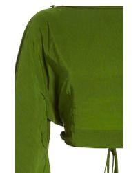 Cult Gaia Green Sophia Long Sleeve Cropped Top
