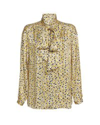 Dondup - Multicolor Neck Tie Floral Blouse - Lyst