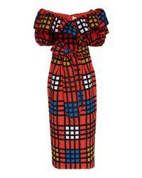 Mara Hoffman Multicolor Arabella Off-shoulder Printed Cotton Midi Dress