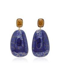 Isabel Marant - Blue Square Gold-tone Ceramic Earrings - Lyst