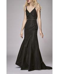 Markarian Neferiti Black Faille Diamante Gown