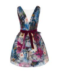 Marchesa Multicolor Floral-pattered Silk Cocktail Dress