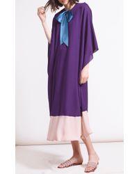 Reem Acra Purple Georgette Caftan With Bubble Hem