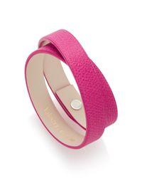 Valextra - Pink Double Wrap Leather Bracelet - Lyst