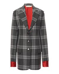Marni Multicolor Collared Plaid Virgin Wool Blazer