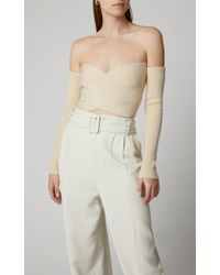 AMUR Multicolor Otto Ribbed Off-the-shoulder Cropped Top