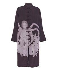 Yohji Yamamoto Black Printed Long Shirt Coat for men