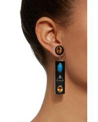 Ashley Pittman - Black Ada Horn Multi-stone Gold-tone Earrings - Lyst