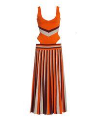 Gabriela Hearst Orange Stand Striped Merino Wool Knit Dress