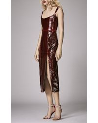 Markarian Brown Pips Leather Corset Dress