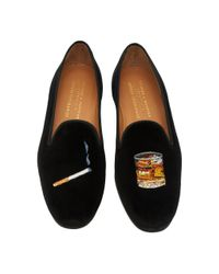 Stubbs & Wootton Black Exclusive Cigarette And Scotch Velvet Slippers for men