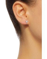 Colette - Metallic Mini Star Huggie 18k White Gold Diamond Earrings - Lyst