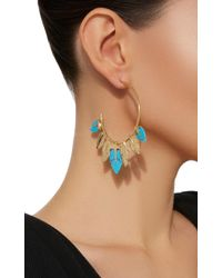 Aurelie Bidermann | Metallic Thalitha Hoop Earrings With Turquoise | Lyst