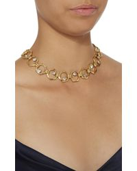 Nicole Romano - Metallic 18k Gold-plated Bolt Crystal Necklace - Lyst