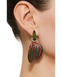 Silvia Furmanovich - Green Marquetry Leaf Earrings - Lyst