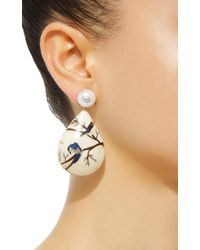 Silvia Furmanovich White Marquetry Bird Pear Drop Earrings
