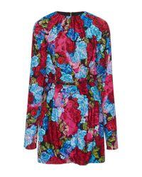 Versace Blue Floral Crepe Mini Dress