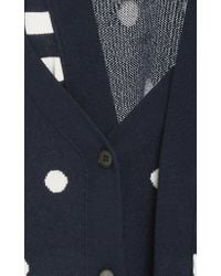 Monse Blue Dot And Stripe Double Cardigan
