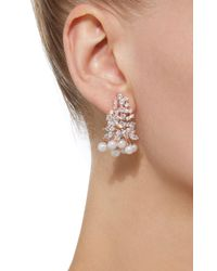 Fallon - Pink Monarch Juniper Cluster Crystal And Rose Gold-plated Earrings - Lyst