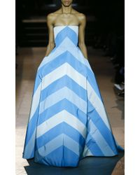 Carolina Herrera Blue Strapless Chevron Gown
