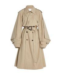 Bottega Veneta Natural Draped-sleeve Cotton-blend Double-breasted Trench Coat