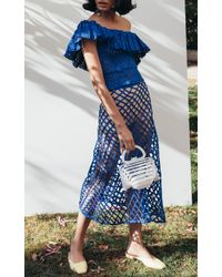 Cult Gaia Blue Belle Fisherman Basket Skirt