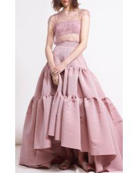 Reem Acra Pink Tiered Silk Faille High Low Skirt