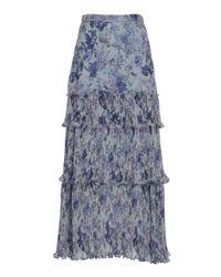 AMUR Blue Kola Ruffle-tiered Midi Skirt