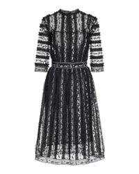 Costarellos Black Bessina Ruffled Floral-embroidered Tulle Midi Dress