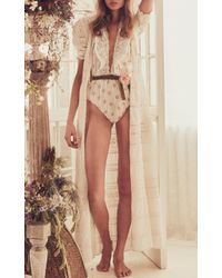 LoveShackFancy White Flora Eyelet Maxi Dress