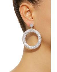 Fallon Metallic Pave Crystal Embellished Drama Hoop Earrings